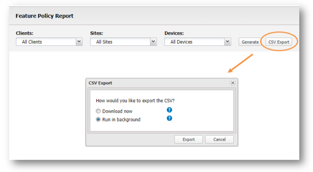 feature policy report offline csv