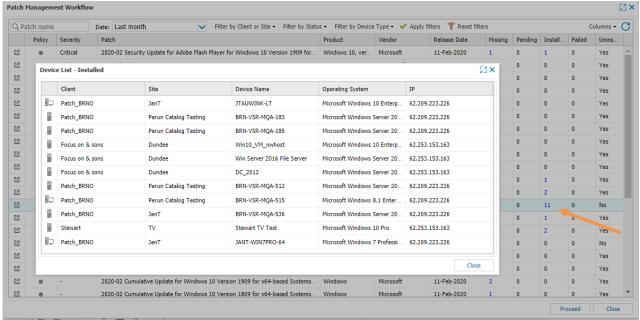 patch status device list